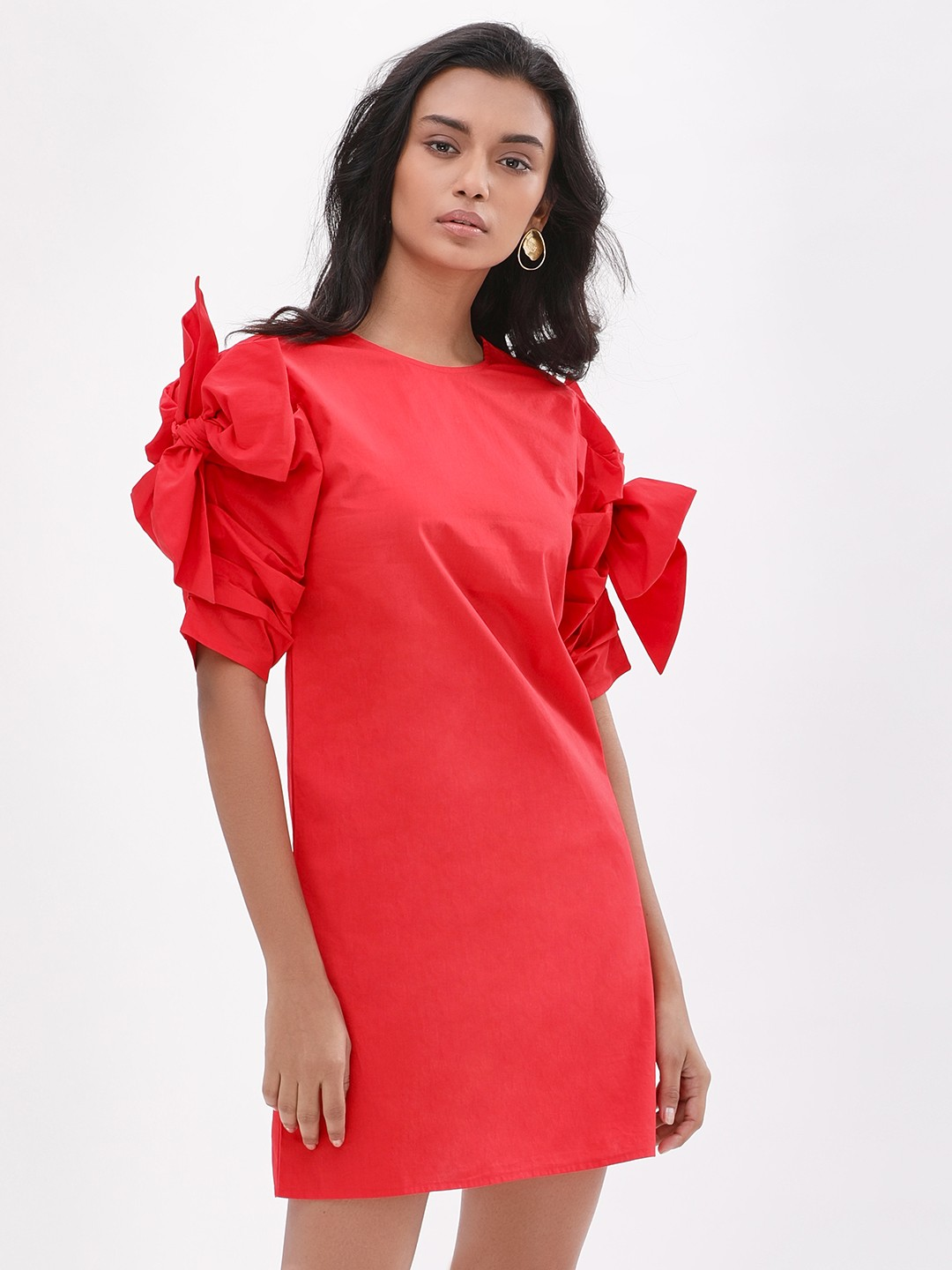 KOOVS Red Bow Sleeve Shift Dress 1