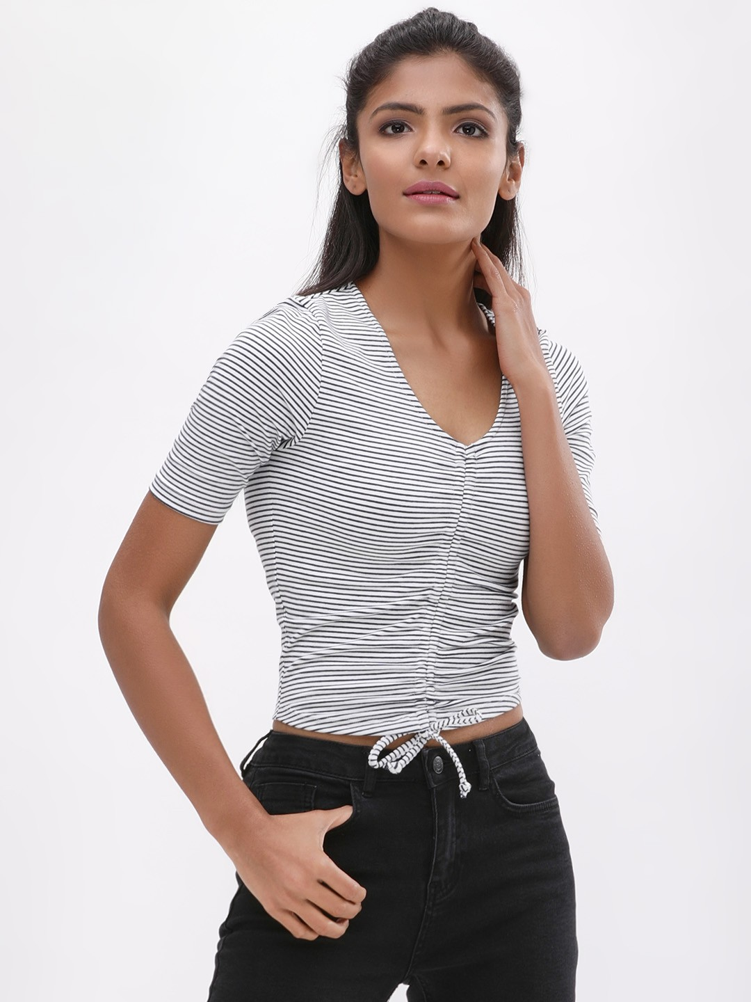 KOOVS Navy/White Front Ruched Crop Top 1