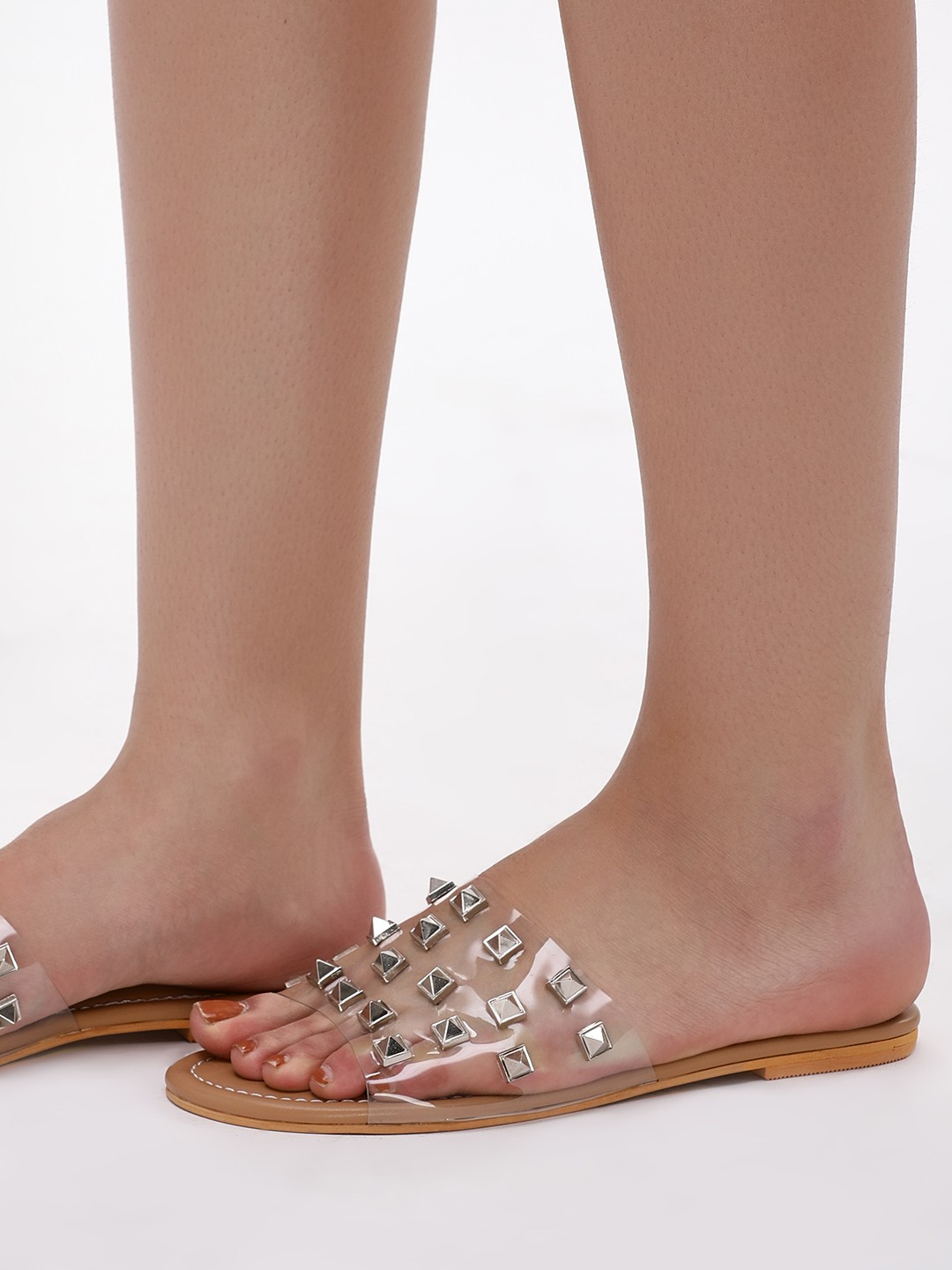 CAi Clear Clear Strap Studded Slides 1