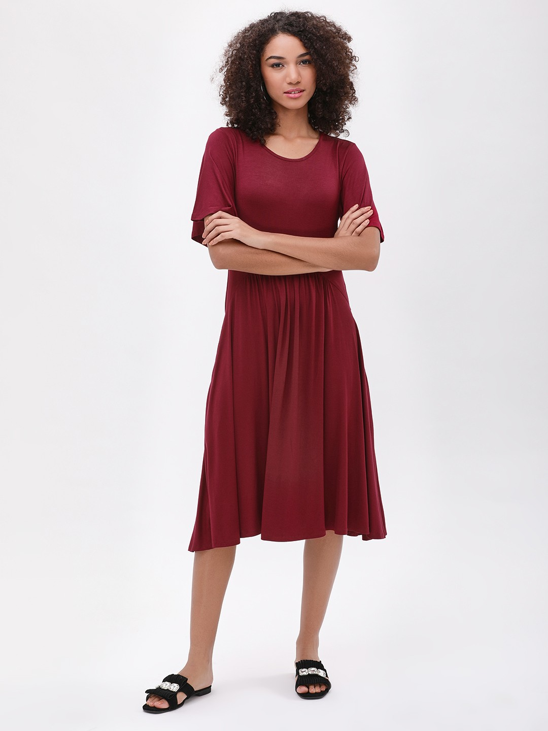 Femella Maroon Gathered Swing Dress 1