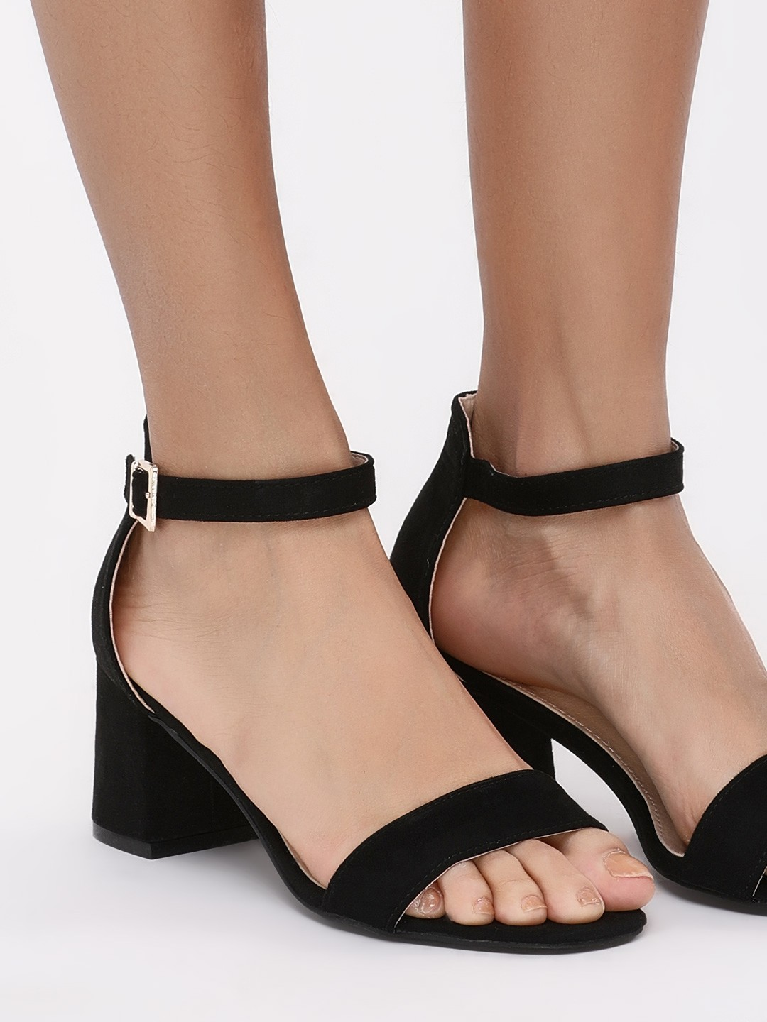 My Foot Couture Black Flared Mid Heeled Sandals 1