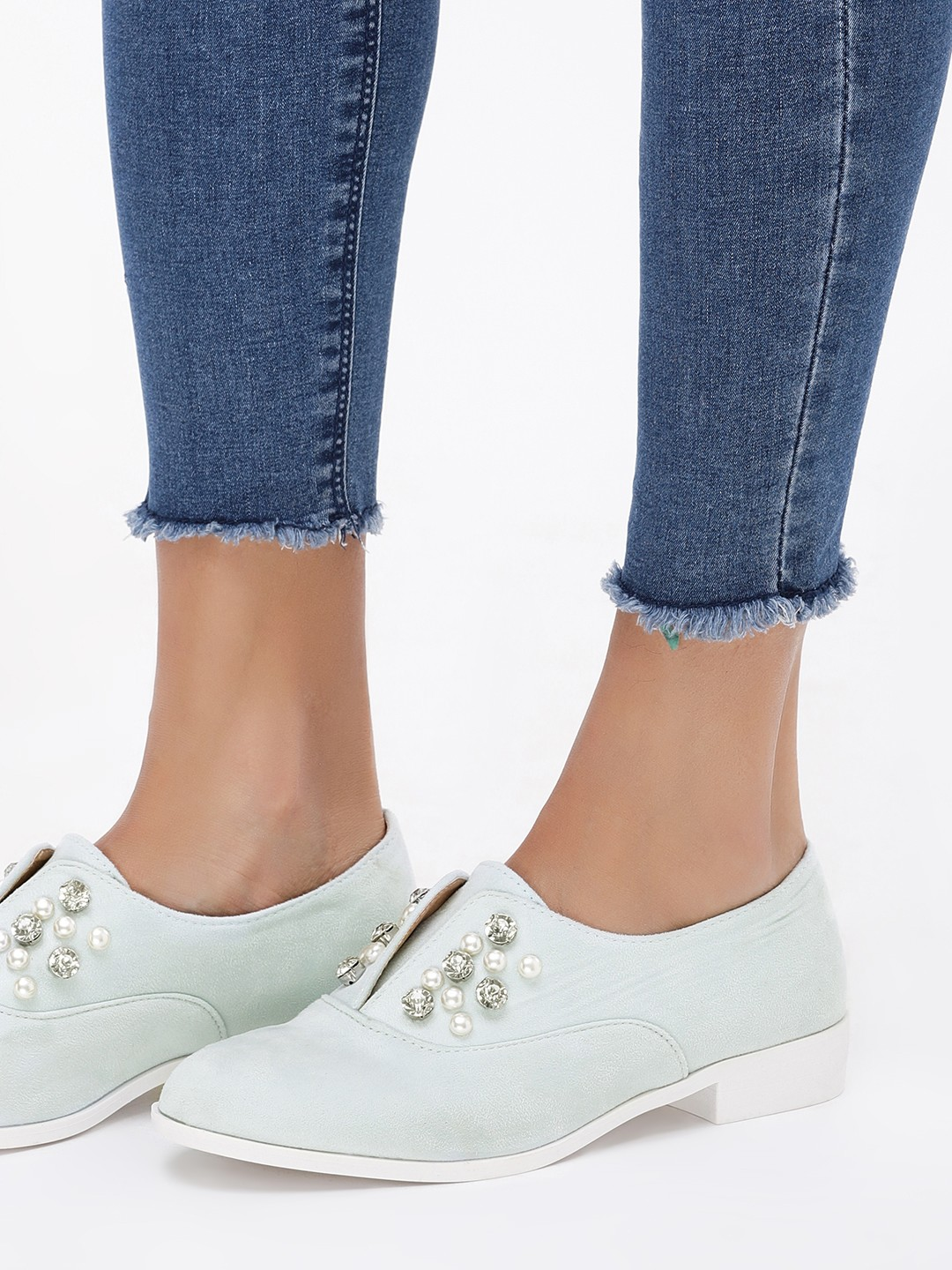 Sole Story PALE BLUE Pearl Embellished Laceless Brogues 1