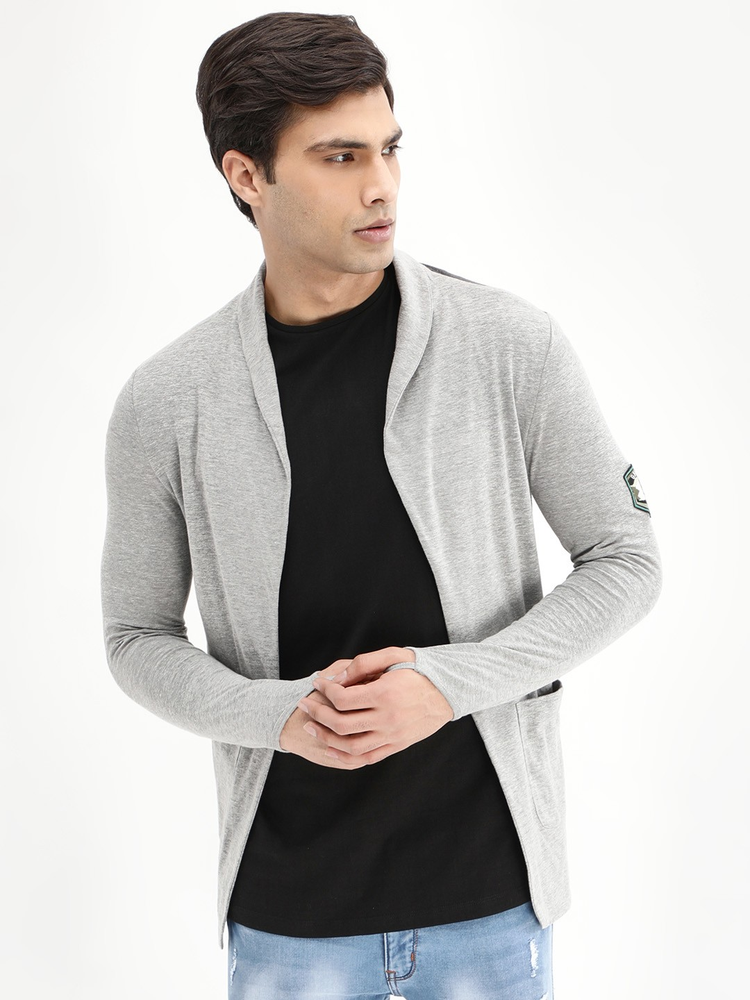 Kultprit Grey Melange/Anthra Melange Badge Open Pocket Cardigan 1