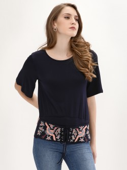 Origami Lily Embroidered Corset Top