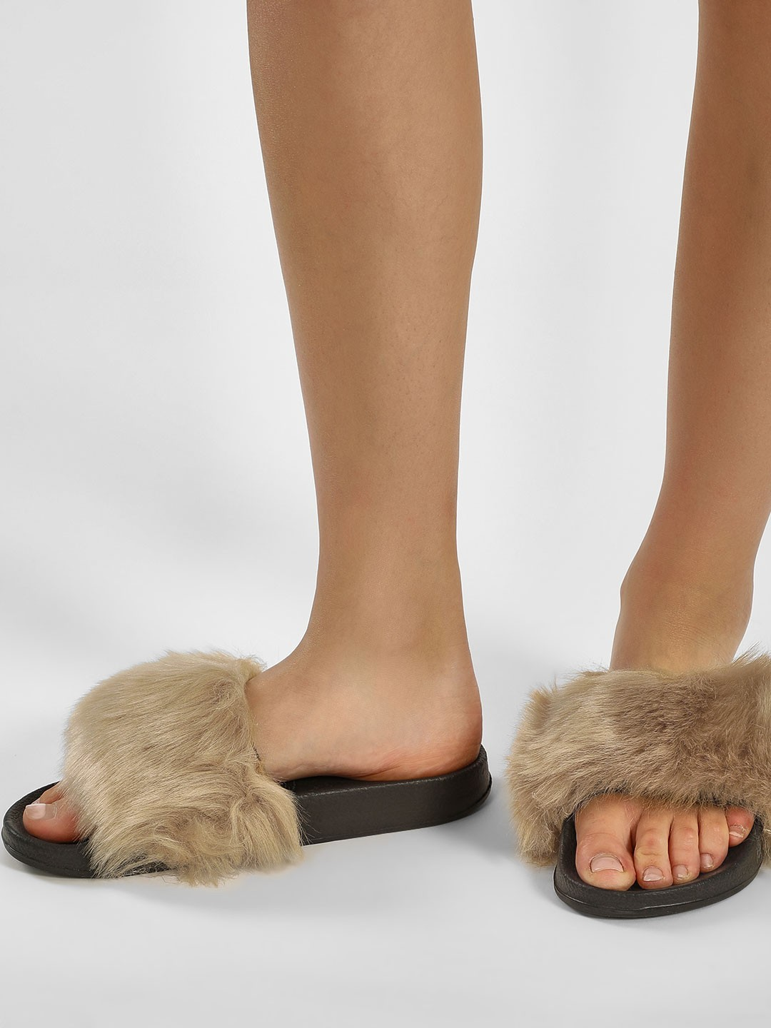 Truffle Collection Brown Furry Pool Sliders 1