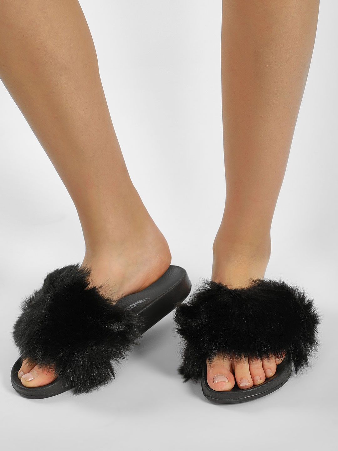 Truffle Collection Black Furry Pool Sliders 1