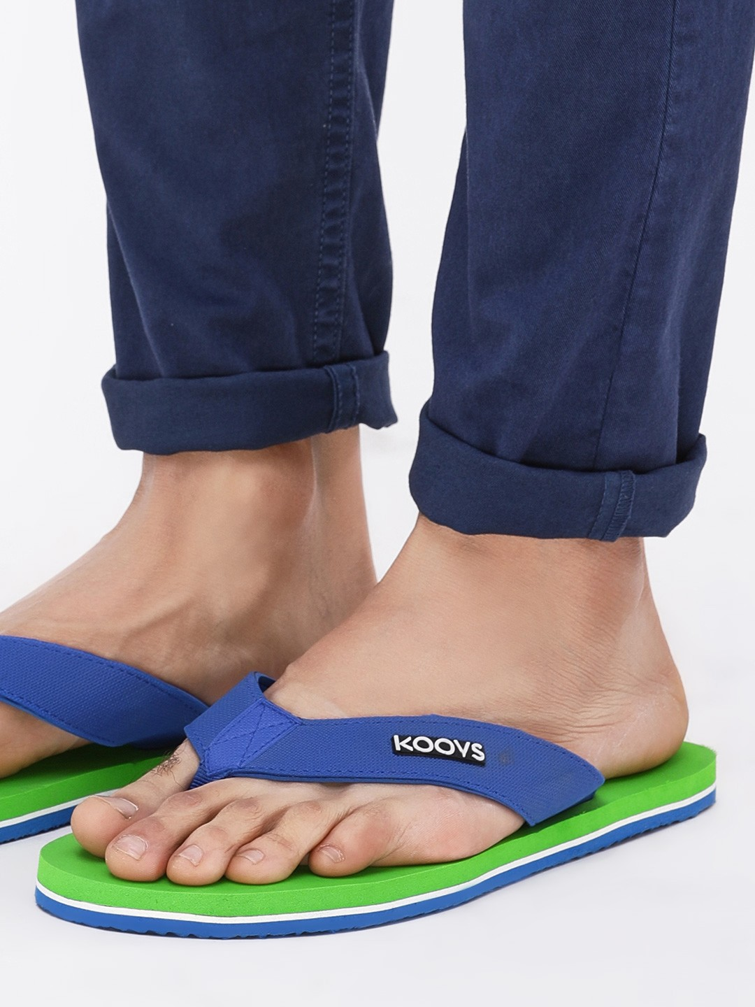 KOOVS Green Two Tone Flip Flops 1
