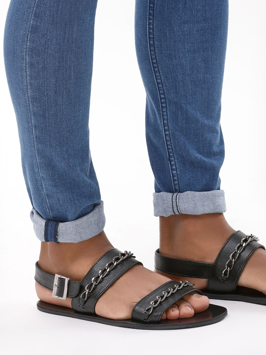KOOVS Black Sandals With Chain Detail 1