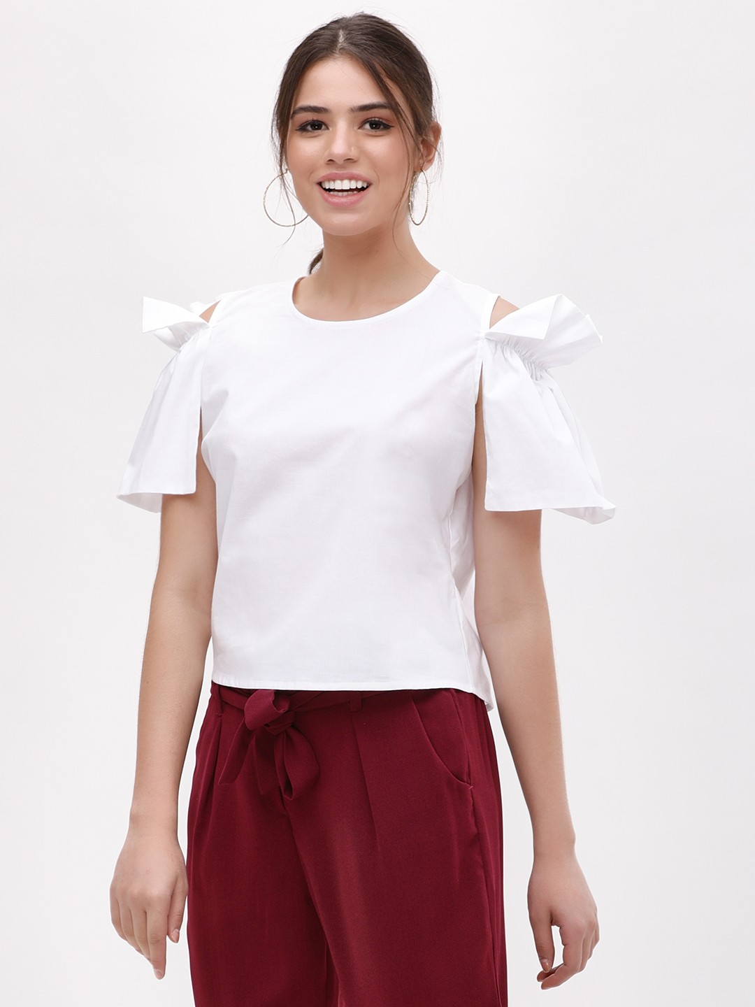 KOOVS White Cold Shoulder Pleated Top 1