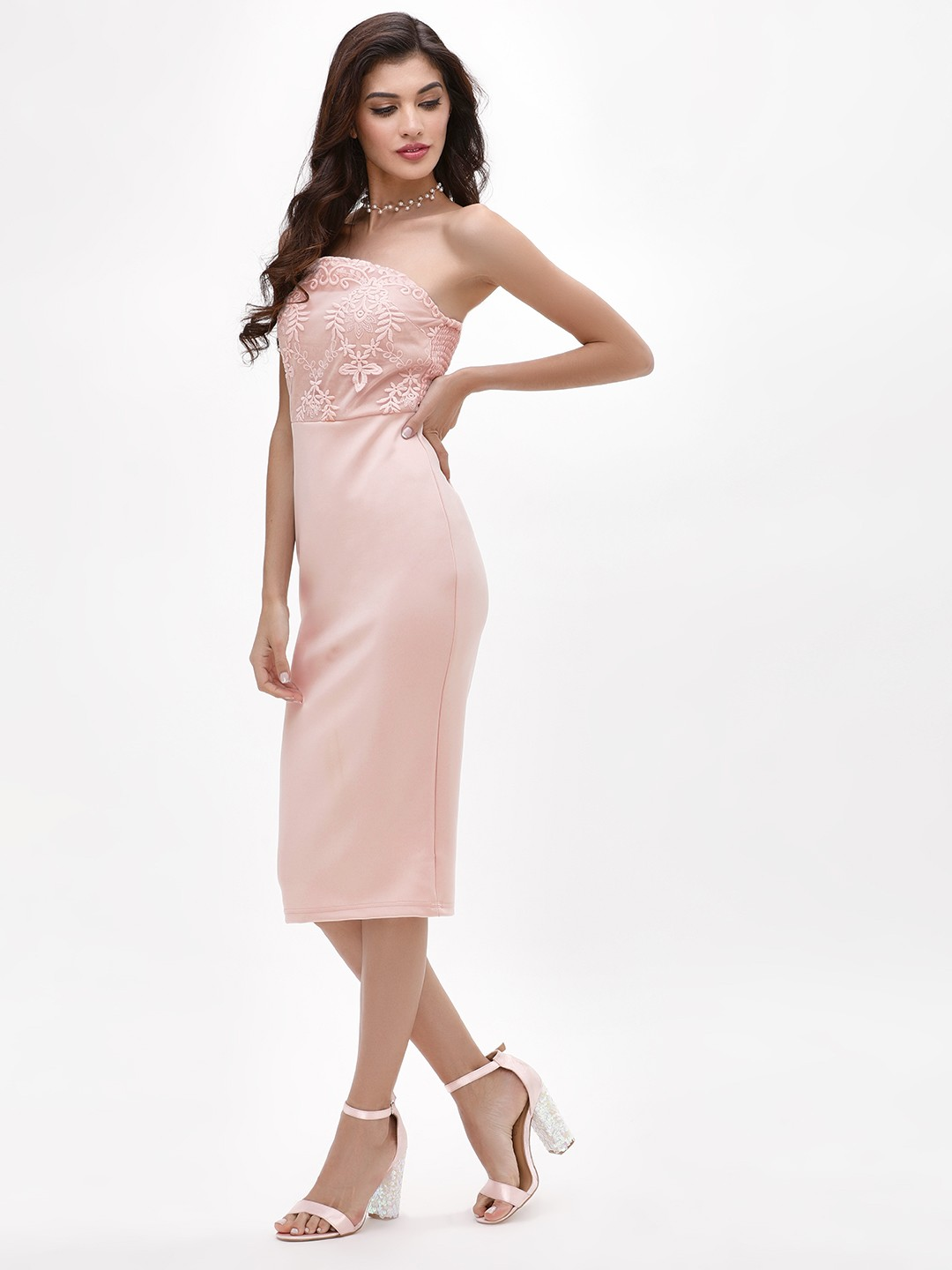 Ax Paris Blush Embroidered Bodycon Bandeau Dress 1