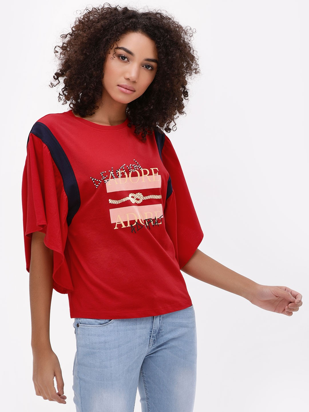 KOOVS Red Adore Crew Neck T-Shirt 1