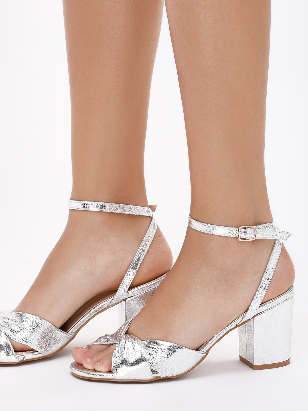 Intoto Silver Knotted Metallic Heeled Sandals 1