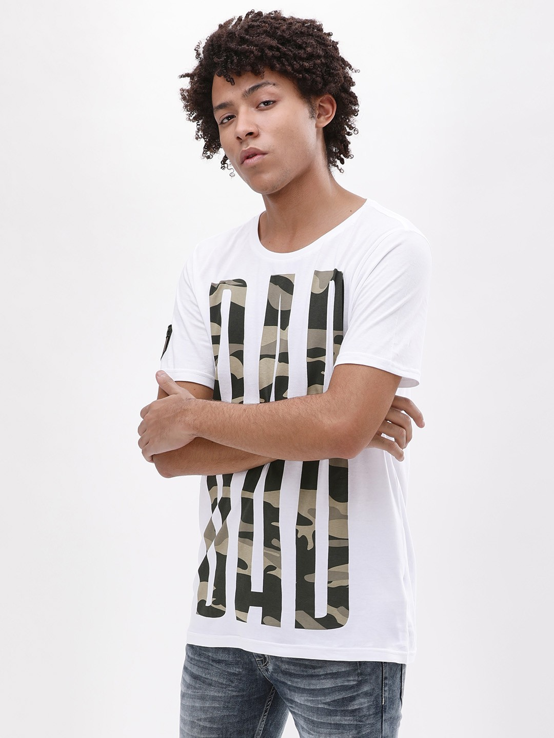 Adamo London White Camo Text Print T-Shirt 1