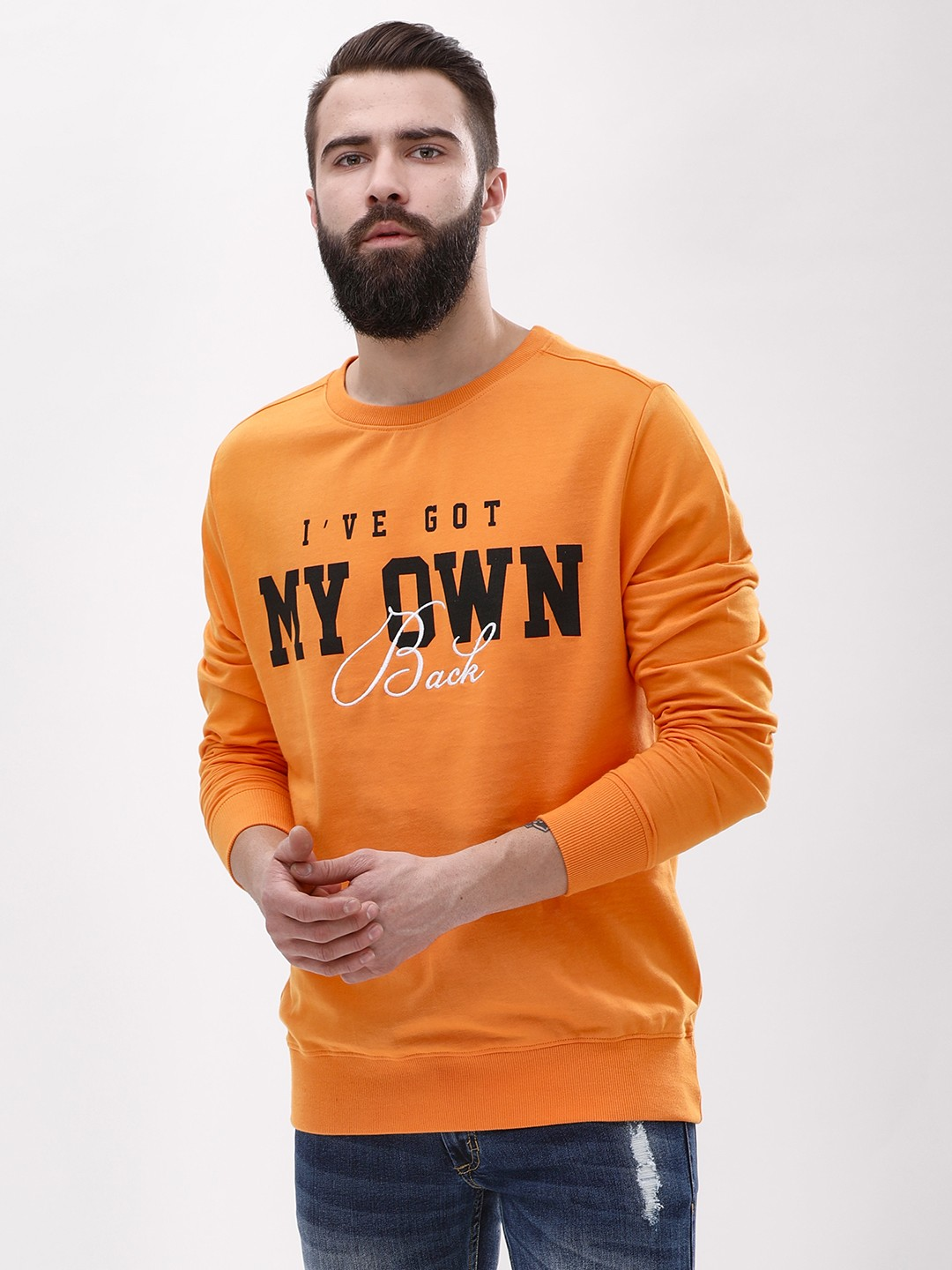 Adamo London Orange Slogan Print Sweatshirt 1