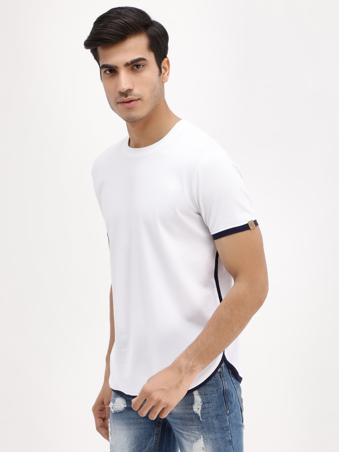 Blotch White Curved Hem Contrast Trim T-Shirt 1