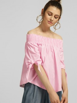 Blue Sequin Gingham Check Off-Shoulder Top