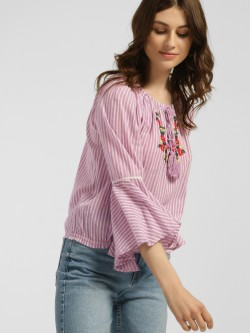 Blue Sequin Striped Floral Embroidered Blouse