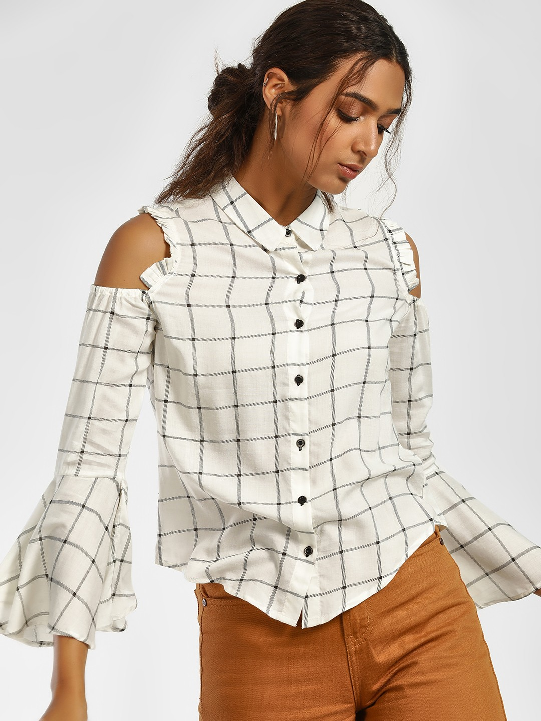 Blue Sequin White Windowpane Check Cold Shoulder Shirt 1