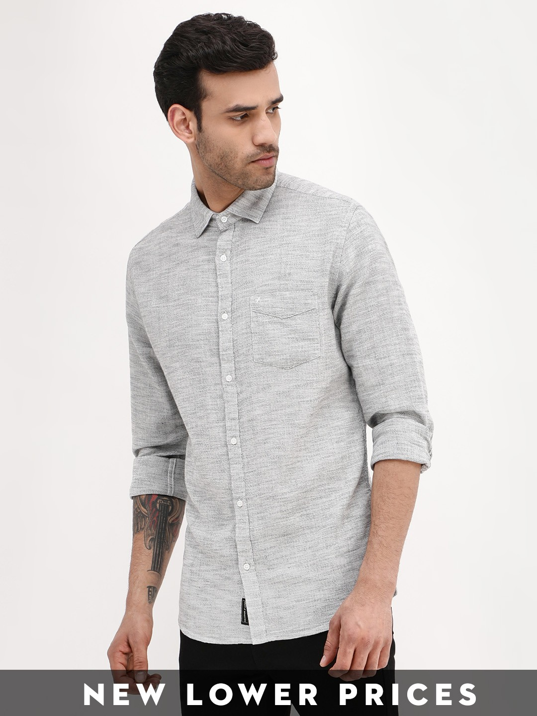 GREY MINISTRY White Knitted Textured Slim Shirt 1