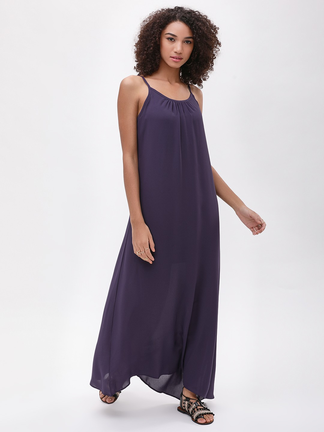 Catwalk88 Plum/Black lining Cami Straps Maxi Dress 1