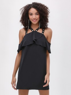 Catwalk88 Eyelets Strap Cold Shoulder Shift Dress