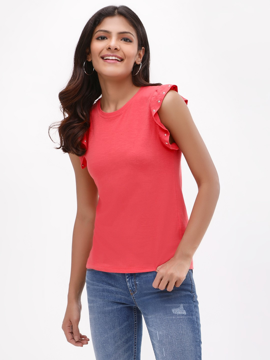 KOOVS Red Studded Cap Sleeve T-Shirt 1