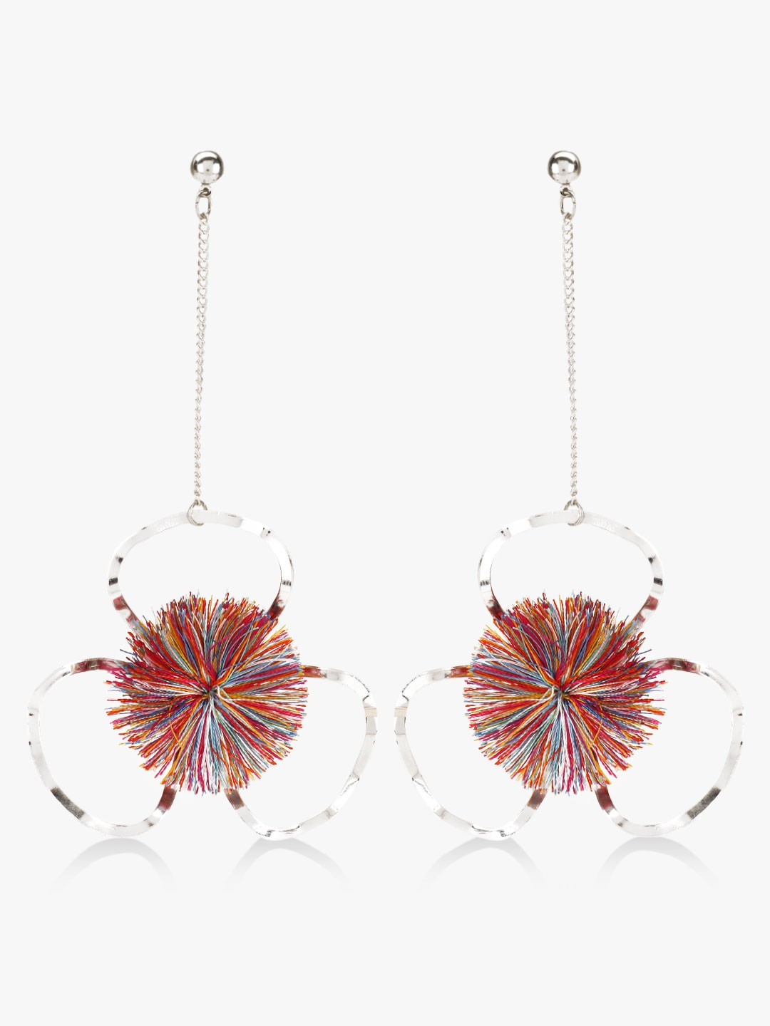 Blueberry Multi Metal Flower Danglers With Pompom 1