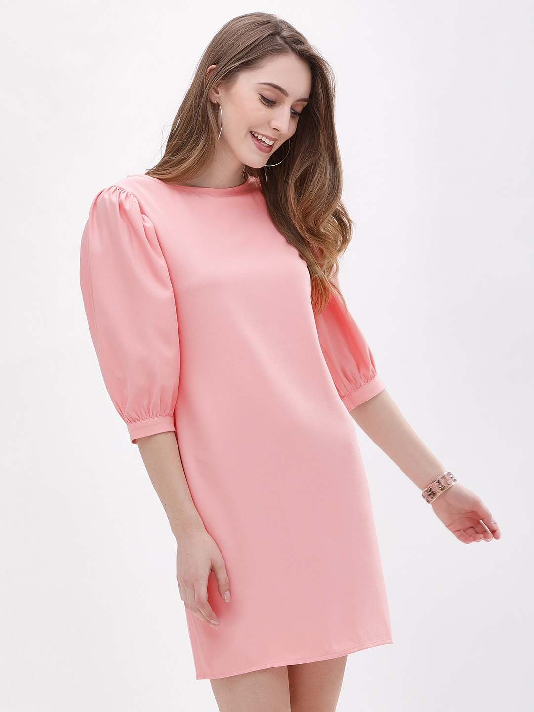 Origami Lily Pink Puff Sleeve Mini Dress 1