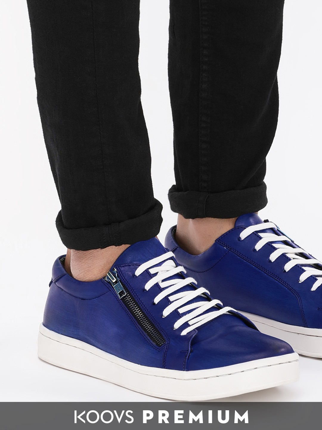 KOOVS Blue Leather Sneakers With Zip Detail 1