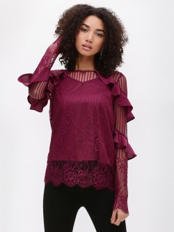 KOOVS Asymmetric Ruffle Lace Top
