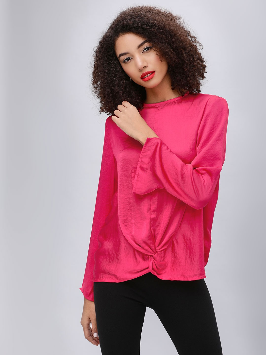 KOOVS Red Front Twist Knot Top 1