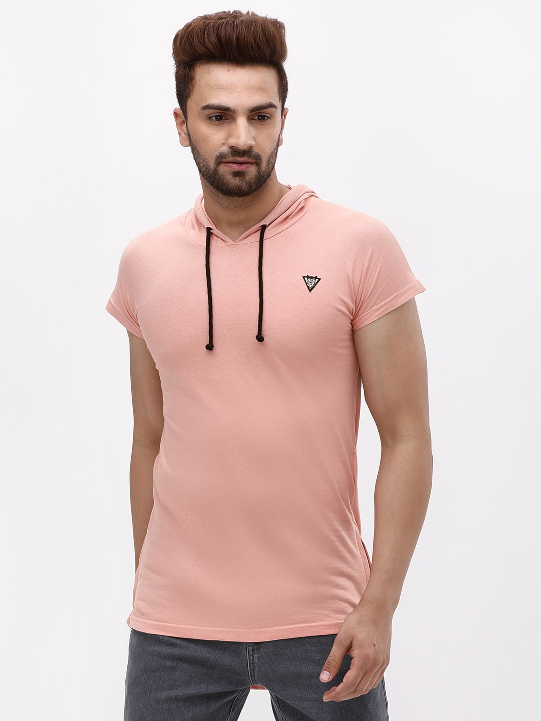 Styx & Stones Pink Slim Fit Hooded T-Shirt 1