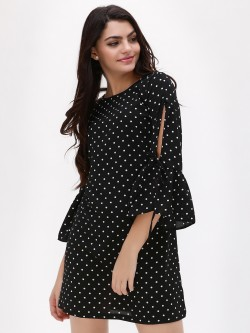New Look Spot Flute Tie Sleeve Tunic Dress