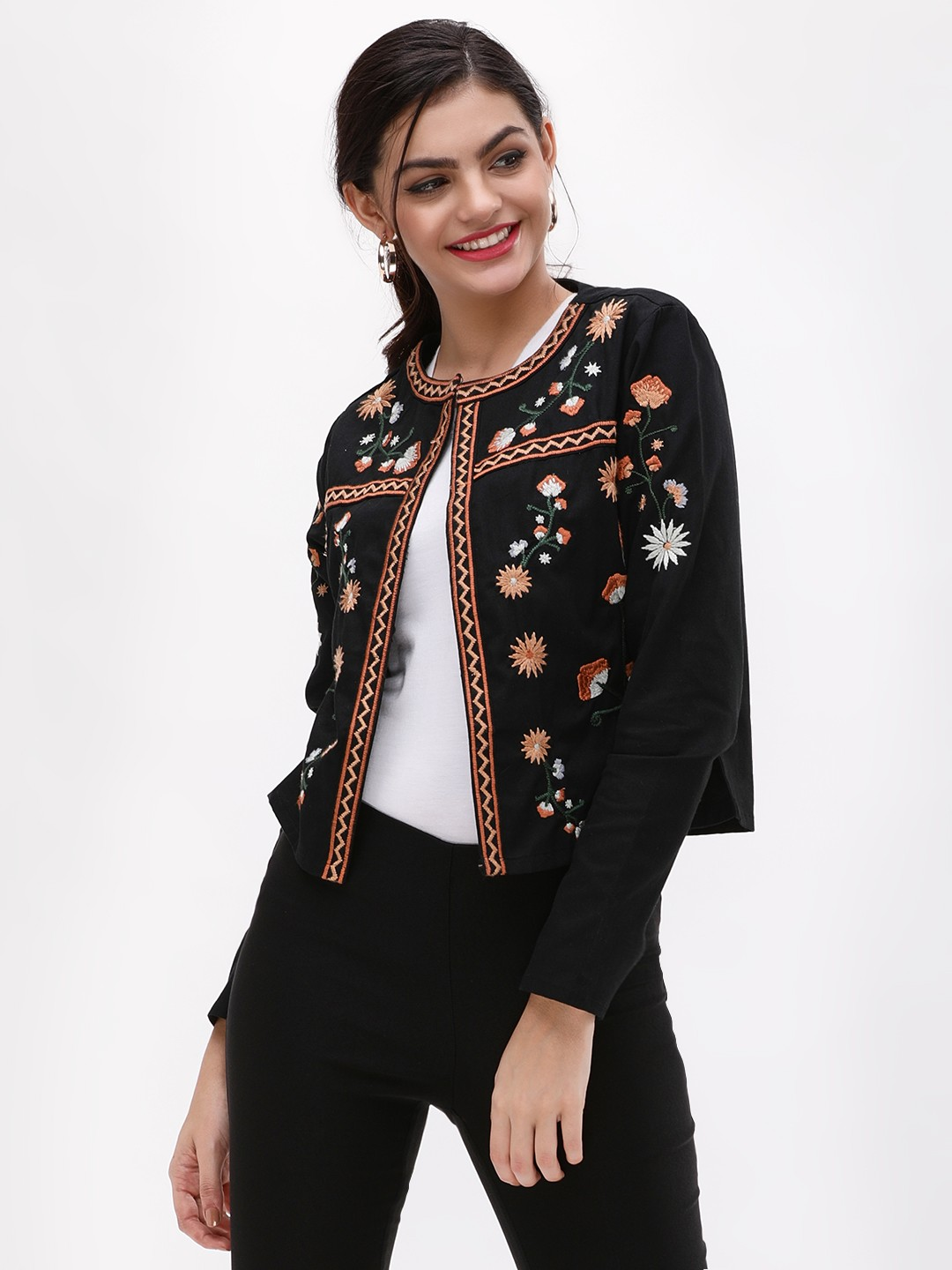New Look Black Floral Embroidered Trophy Jacket 1