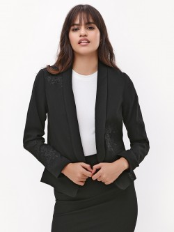 New Look Rose Embroidered Tuxedo Jacket