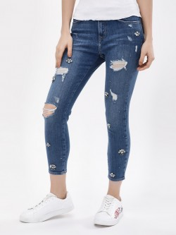 New Look Embellished Distressed Skinny Jeans