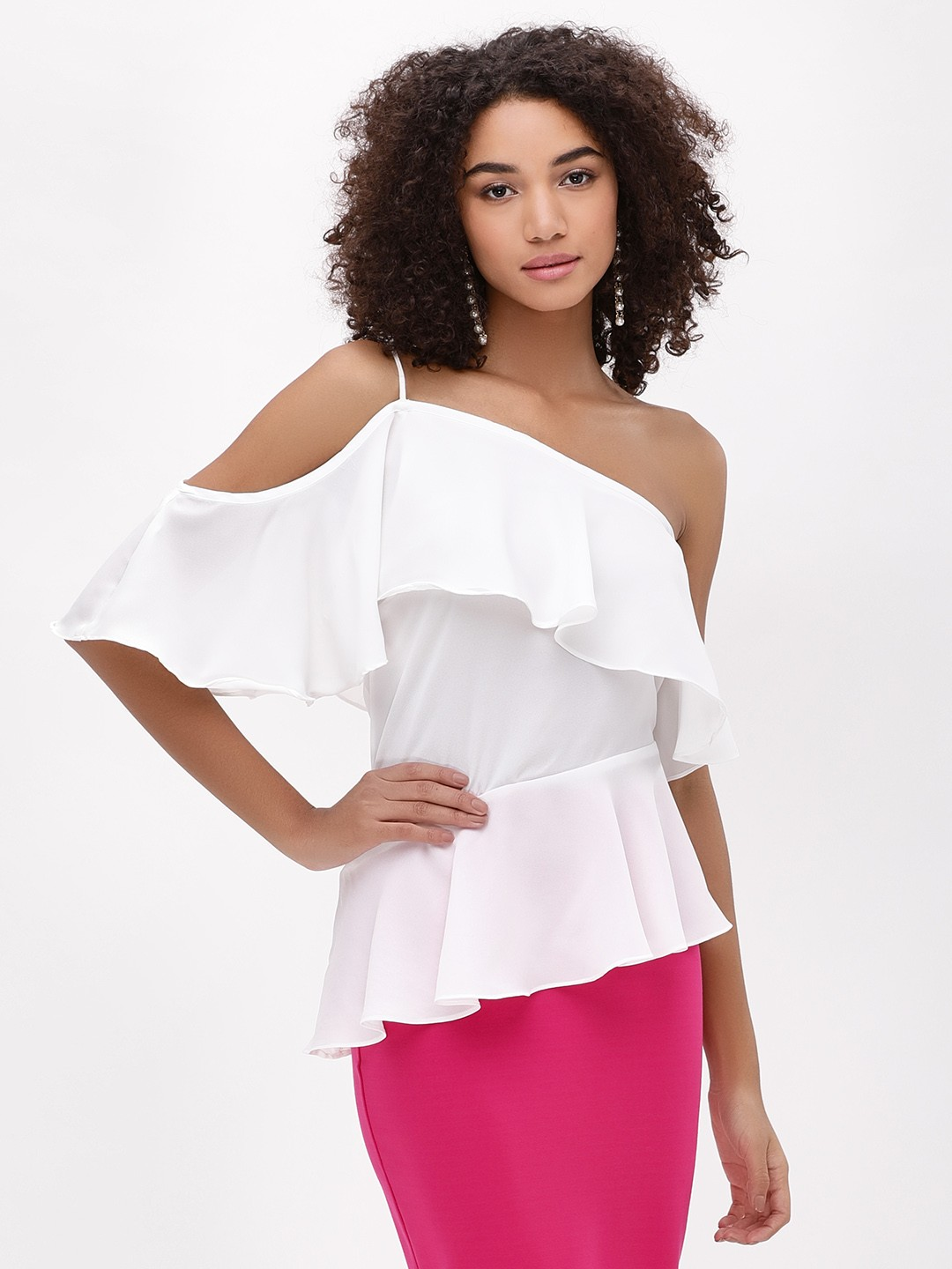 Noble Faith Off White One Shoulder Peplum Top 1