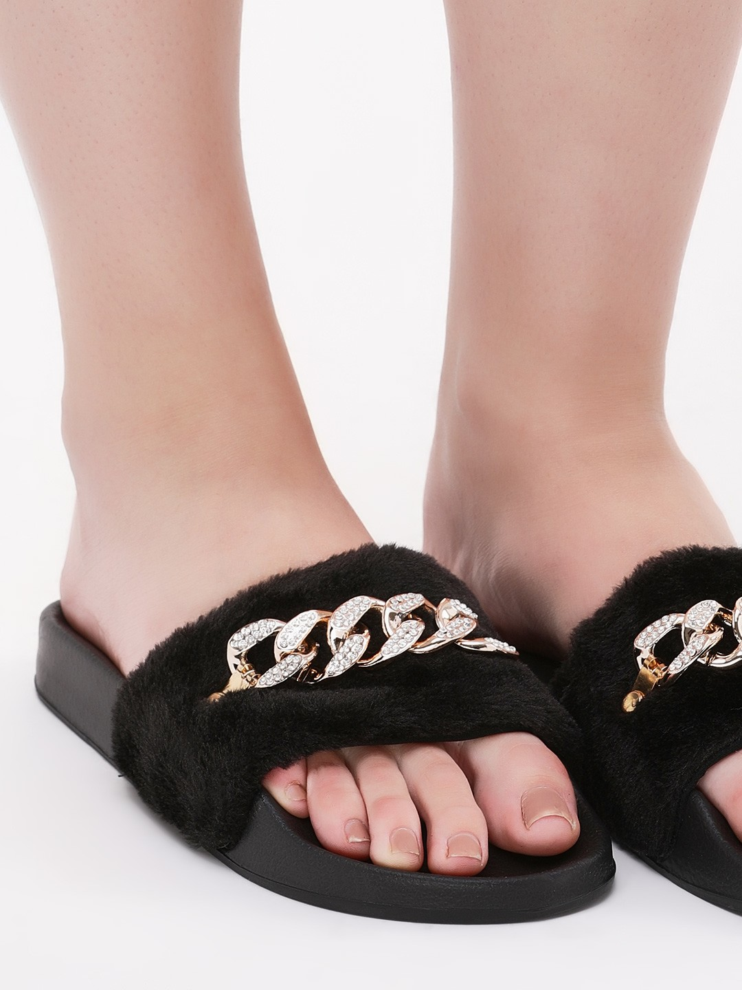 Truffle Collection Black Furry Sliders With Chain Detail 1