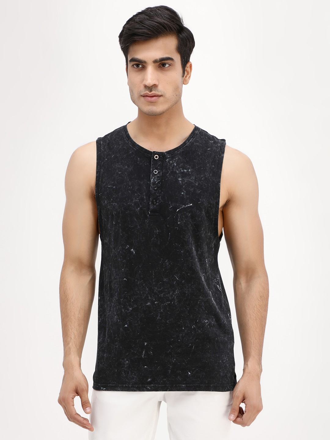 Blue Saint Black Washed Muscle Fit Henley Tank 1