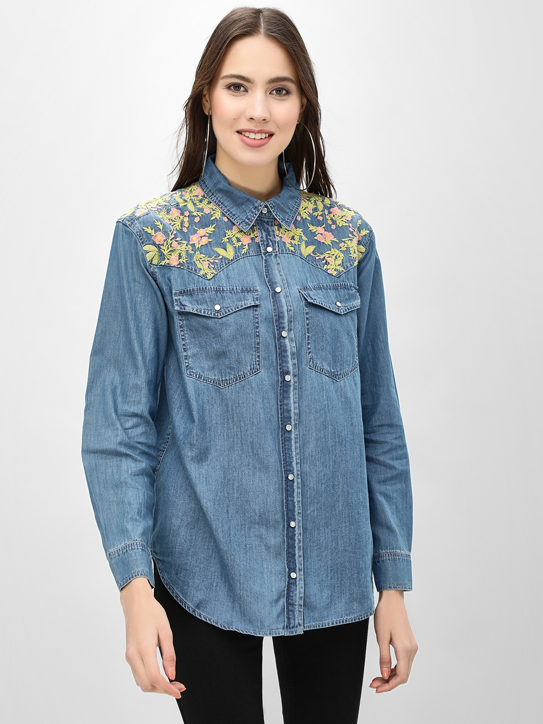 K Denim Blue KOOVS  Floral Embroidered Denim Shirt 1