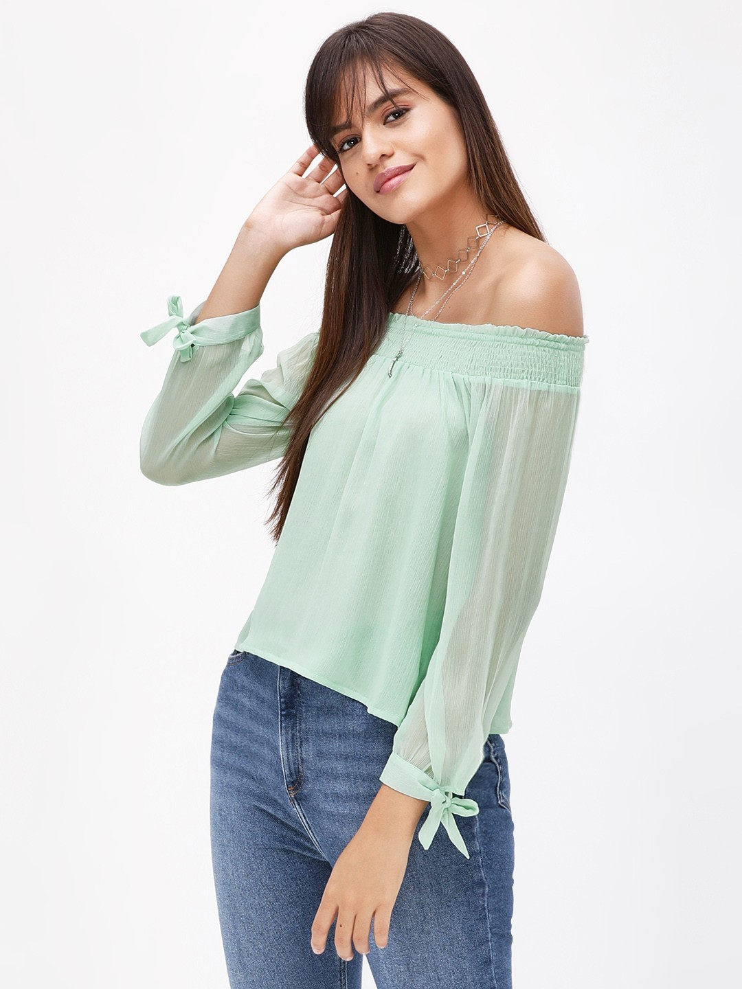 KOOVS Green Smocked Off Shoulder Top 1
