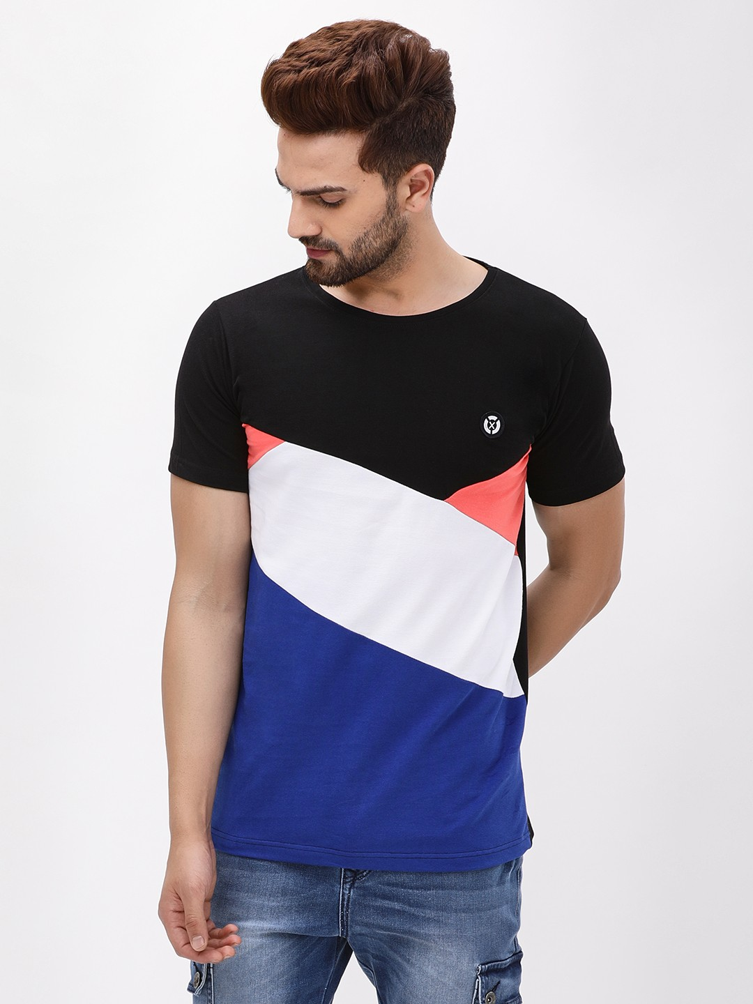 X.O.Y.O BLACK/BLUE Colour Block Slim T-Shirt 1