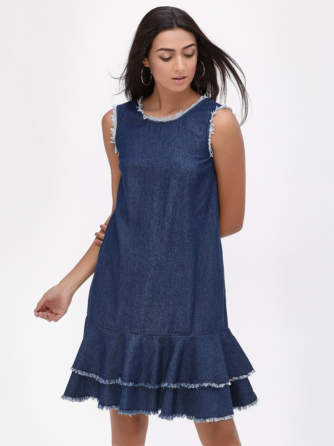 K Denim Blue KOOVS  Ruffle Hem Denim Dress 1