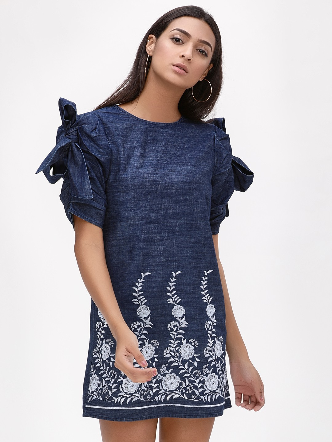 KOOVS Blue Bow Sleeve Shift Dress 1