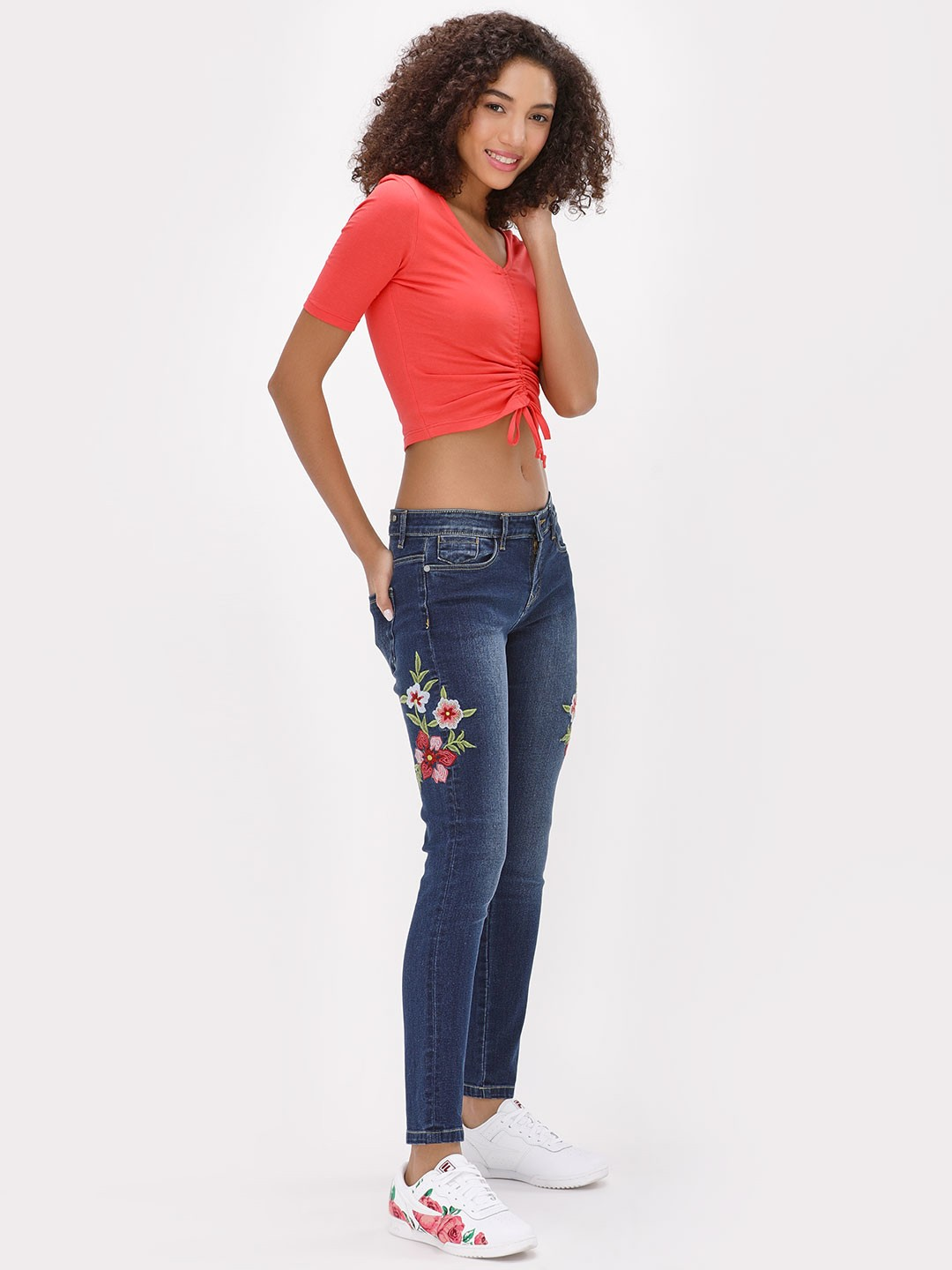 K Denim Blue KOOVS Blue Wash Floral Embroidered Jeans 1