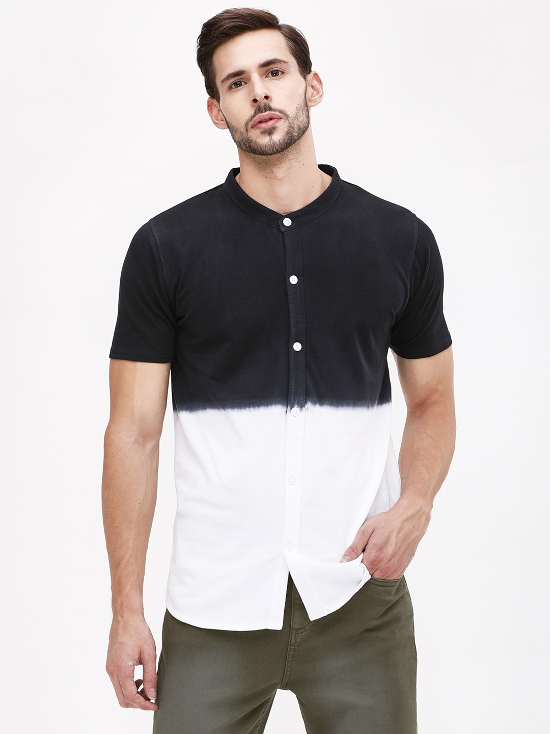 Garcon Black Dip Dye Grandad Collar Knitted Shirt 1