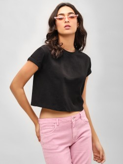 KOOVS Round Neck Crop T-Shirt