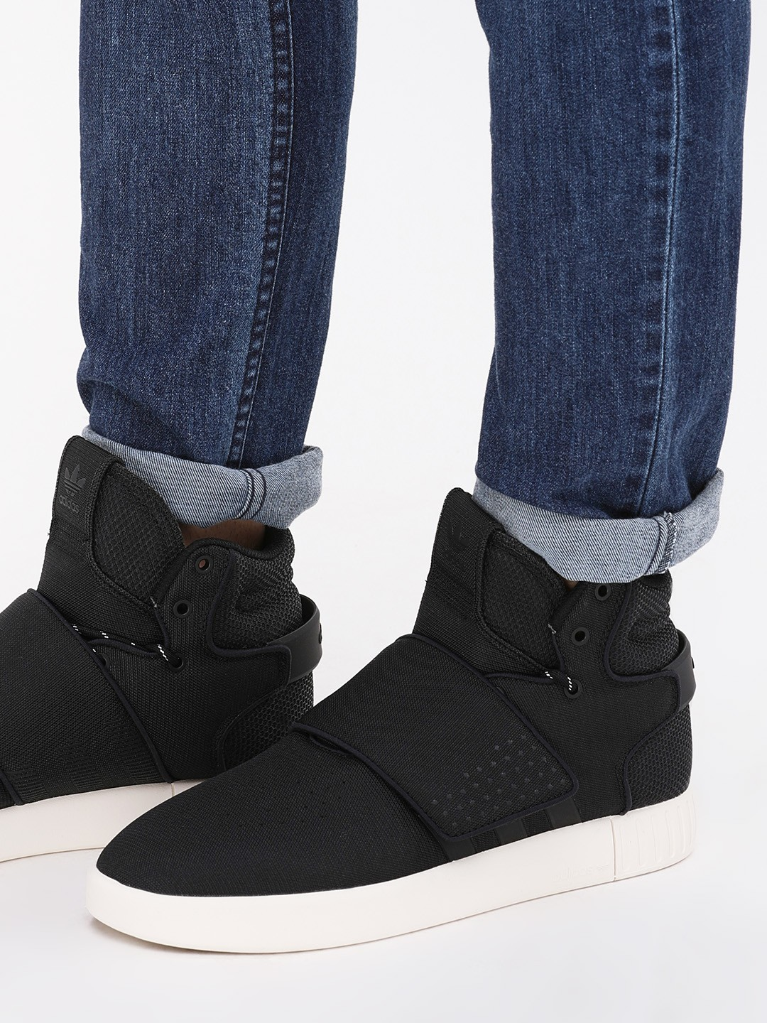 low priced c60c0 a0557 Buy Adidas Originals Black Tubular Invader Strap Sneakers ...