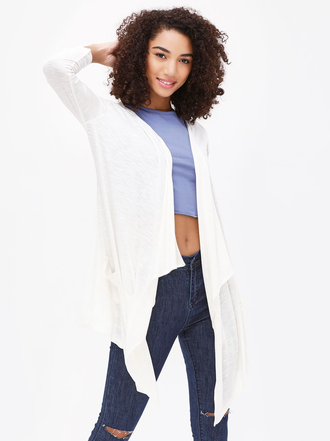 KOOVS Ivory Front Open Waterfall Shrug 1
