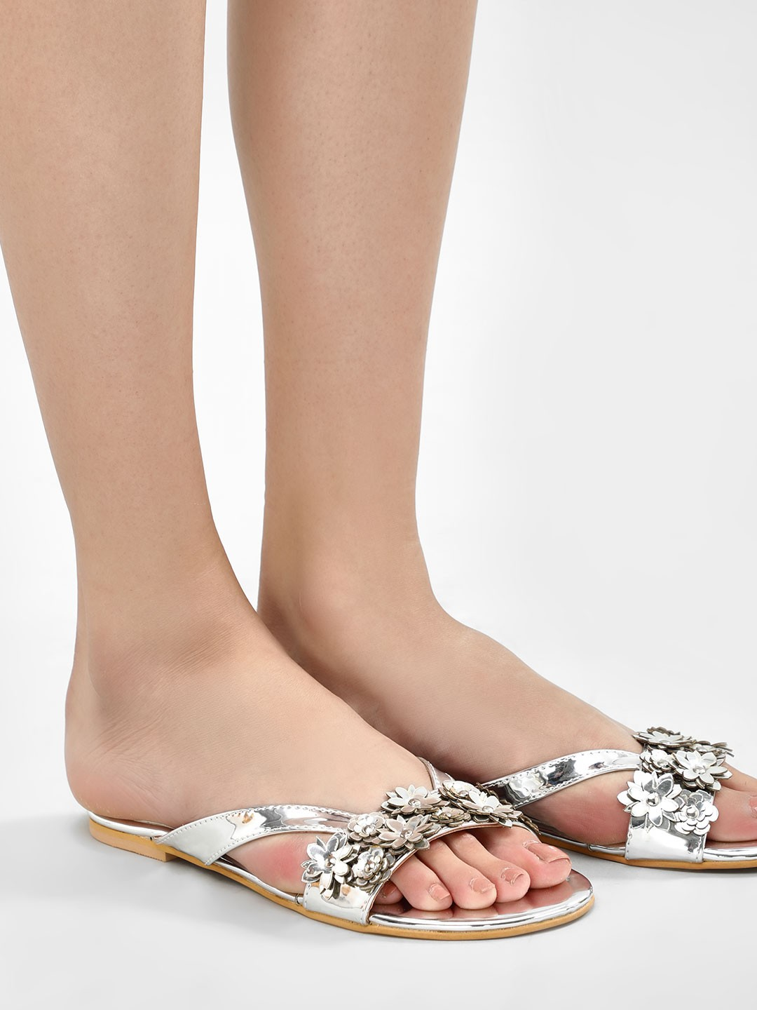 KOOVS Silver 3D Flower Detail Thong Sandals 1